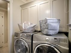 - Laundry Room Pictures From HGTV Smart Home 2014 on HGTV LOVE the simplicity of cabinet moulding....