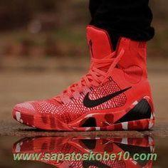"""sites de lojas de tenis """"Christmas"""" Nike Kobe 9 Elite Vermelho / Preto 704304-011 Masculino"""