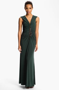 Embellished Front Ruched Jersey Gown