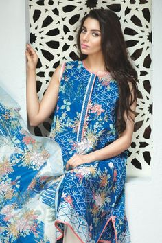 khaadi Eid Lawn Collection Unstitched 2 Piece Suit L16307 in Blue. #LawnCollection #EidCollection2016