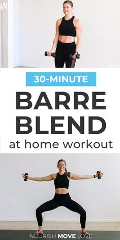 Barre Workout Video, Cardio Barre, 30 Minute Cardio Workout, Best Treadmill Workout, Ballet Barre Workout, Best Pre Workout Food, Barre Moves, Barre Exercises At Home, Interval Training Workouts