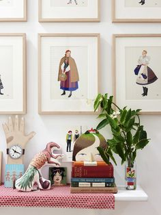 1930's illustrations of Slavic costumes framed by Michael Cleary. Wooden clock hand, stuffed dinosaur, tiny face painting and Village Head by Sandra Eterovic. Watercolour of two ladies by British artist Lizzy Stewart. Photo – Eve Wilson. Production – Lucy Feagins / The Design Files.