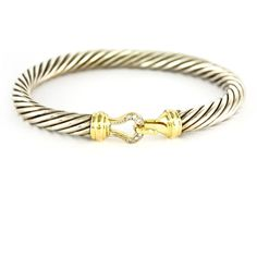 David Yurman Cable Buckle 7mm Diamond Bracelet 18k Gold Sterling Silver Large Davidyurman