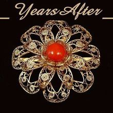 900 VERMEIL Filigree Mediterranean Red CORAL Brooch ITALY Flower Wirework Hallmarked c.1930's!