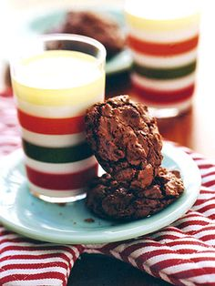 These dense fudgy cookies are made with three kinds of chocolate--bittersweet, unsweetened, and semisweet chocolate chips.