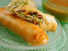 """SHRIMP SPRING ROLLS WITH SPICY APRICOT MUSTARD DIP RECIPE: ~ From: """"Food Network.com"""". ~ Recipe Courtesy of: SANDRA LEE (2011 ~ SEMI-HOMEMADE COOKING ~ DIM SUM AND THEN SOME). ~ Prep. Time: 25 min; Cook Time: 15 min; Total Time: 40 min; Level: Easy; Yield: (4 servings or 8 roll )."""