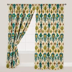 $376 FOR 108 INCH PANELS. $47/PANEL One of my favorite discoveries at WorldMarket.com: Gold and Teal Ikat Aberdeen Cotton Curtain