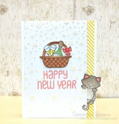 Happy New Year card by Samantha Mann | Stamps by Newton's Nook Designs
