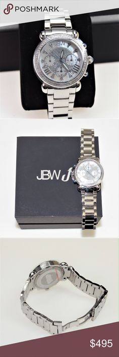 JBW Victory Pearl Diamond Chronograph Watch Key Features: Diamond accented bezel: 16 round-cut white diamonds with 0.16CTW; Durable all stainless steel case and link bracelet; Crystal accented center with 3 subdials, stylish design and roman numeral hour indicators on a white mother-of-pearl dial * Clasp Type: Deployment Clasp * Band Material: Stainless Steel * Band Color: Silver * Dial Color: Ivory * Bezel Color: Silver. Brand new in the box with all paperwork. JBW Accessories Watches