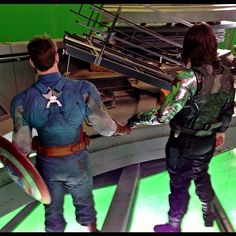 Chris and Sebastian behind the scenes of The Winter Soldier