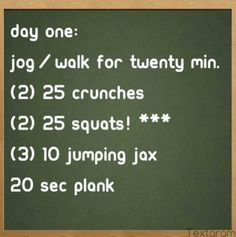 Day one...I have started doing this :-)