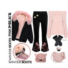 Pink & Black Winter Boots