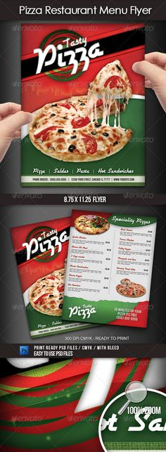 Pizza Restaurant Menu Flyer #GraphicRiver A great design for a pizza place or Italian restaurant, you can use this flyer to advertise your business and promote your menu items with style. This 8.5×11 (with bleed area) 300 dpi CMYK flyer can be easily personalized with your own information, prices, pictures, etc. File does not include images. Font and picture information included in the download file. Created: 2July12 GraphicsFilesIncluded: PhotoshopPSD Layered: Yes MinimumAdobeCSVersion: CS…