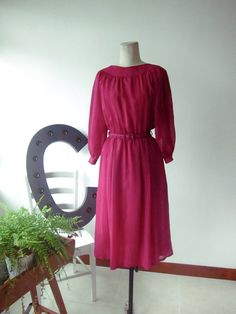 1970's fuchsia color dress with bat wings by chaptervintage, $75.00