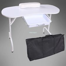 Portable folding manicure nail art table desk station for Mobile nail technician table