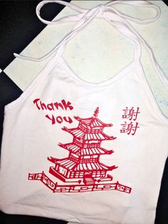 THANK YOU! XIE XIE! COME AGAIN! YAO HUI LAI O! CHINESE TAKE OUT WONTON SOUP PLX     Round neck halter top Adjustable straps Cropped Lightweight Cotton elastane blend