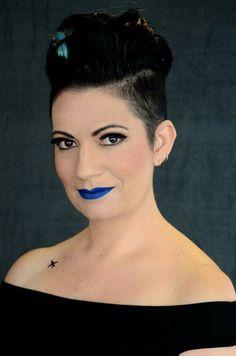 Anna Emm Author photoshoot 2015 #blue #lipstick #tattoo #annaemm  www.AnnaEmm.co.za