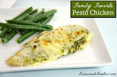 Pesto Chicken- take grilled chicken, top w pesto and slice of mozzarella cheese and broil. (For all that pesto we are gonna get from our garden)