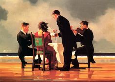 Jack Vettriano, Elegy for The Dead Admiral. Oil on canvas - 20 x 24 inches ___  Needing to feel emotionally uncomfortable to create his edgy, atmospheric dramas, the self-taught Vettriano often listens to Leonard Cohen's requiems while he works. Known for toiling tirelessly until a painting is completed, Vettriano has sold more works than Dali, Monet and Van Gogh, and his sales set a record at Scotland Sotheby's. Art.com