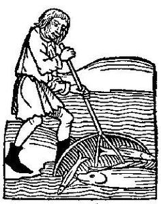 Catching fish in a basket-like net; from Medieval Life Illustrations.