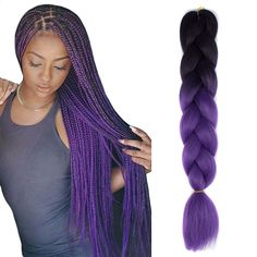 Kanekalon Ombre Black/Purple Synthetic Jumbo Braid Braiding Hair Extensions - September 28 2019 at Braids Hairstyles Pictures, Cool Braid Hairstyles, Braided Hairstyles For Black Women, African Braids Hairstyles, Braids For Black Women, Braids For Black Hair, Hairstyle Look, Black Hairstyles, Hairstyle Ideas