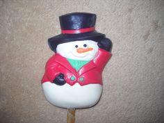 1 Dog Safe Chocolate christmas top hat snowman Rawhide treat lollipop Lollipops