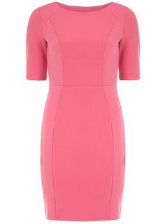 Pink waffle pencil dress