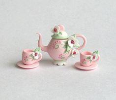Miniature Shabby Pink & White Jeweled Blossom Tea Set OOAK by C. Rohal