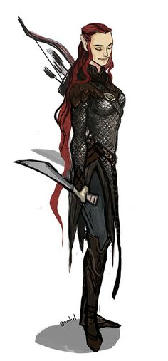 Drawing of Tauriel, inspired on the design of one of her concept arts.