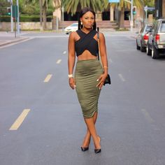 Suede pencil skirt in Olive I have this skirt in three sizes I wore the small I still have s,m,l  NEW NEVER WORN. *brand tagged it not the real brand I do that for exposure * Nasty Gal Skirts Midi