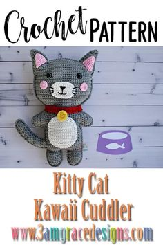 Our Kitty Cat crochet pattern & tutorial makes an adorable pillow for you or your favorite pet lover. *This is a paid pattern Crochet Animal Amigurumi, Cat Amigurumi, Cat Crochet, Crochet For Kids, Crochet Animals, Amigurumi Patterns, Crochet Crafts, Crochet Dolls, Crochet Baby