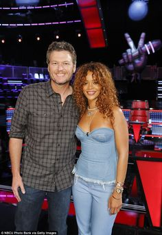 She's good: Rihanna was praised by the contestants and the judges for her coaching skills - catching up with coach Blake Shelton