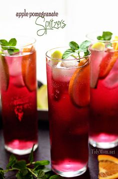 Non-Alcoholic - Apple Pomegranate Spritzers - These were YUMMY! Party Drinks, Cocktail Drinks, Fun Drinks, Yummy Drinks, Healthy Drinks, Cocktail Recipes, Drink Recipes, Mothers Day Brunch, Non Alcoholic Drinks