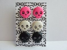Hot Pink, White, and Black Skull Earring Set, Polymer Clay Skull Earrings, Halloween Skull Earrings, Nickel Free Post Earrings, USA Shipping