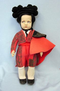 """Mouse over image to zoom Have one to sell? Sell it yourself 17"""" Antique LENCI c1935 SPANISH MATADOR #300 Series Felt Doll Regional Costume"""