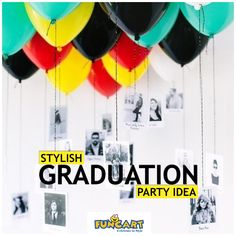 Fill your ceiling with balloons with photos of you and your friends hanging with you.  www.funcart.in #Funcart #Decor #Party #ThemeParty