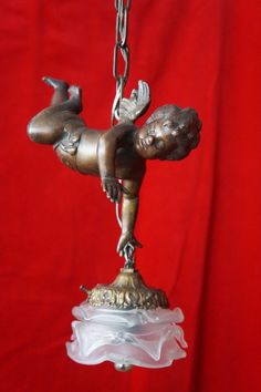 ANTIQUE SOLID BRONZE CHERUB ANGEL PUTTI PENDANT LAMP CHANDELIER  GLASS SHADE