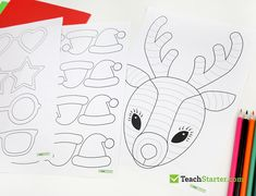Teaching Resource: A fun Christmas craft activity using a reindeer with funky glasses and a Christmas hat. Christmas Art For Kids, Christmas Hat, Christmas Knitting, Handmade Christmas, Christmas Crafts, Reindeer Craft, Santa And Reindeer, Machine Applique Designs, Christmas Applique