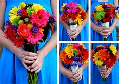 Replace gerbera daisies with dahlias and these would be perfect!