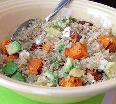 A power meal of fluffy quinoa, garlic and sage roasted sweet potatoes and avocado. Get the recipe on Honest Cooking today.