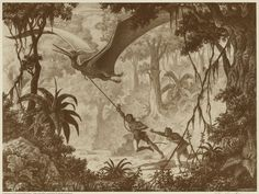 Ray Harryhausen art for un unfinished 1940s project, Valley of the Mist.
