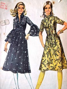 Vintage 1970s Simplicity 9302 sewing pattern A line skirt gathered on to a bodice with optional collar finishes plus optional short sleeve or