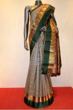 Classic Grey Traditional Zari Checks Kanjeevaram Silk Saree                               Product Code: SSJG06347          #Silk #SilkSaree #Handloom #PureSilk #WeddingSaree #BridalSaree #Kanjivaram #Kancheepuram #Kanjeevaram #southindian