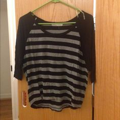 Forever21 gray and black striped baseball tee Worn twice. Loose dolman style baseball tee. Size S. Two small holes in the back -- see photo. Forever 21 Tops