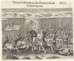 Theodor de Bry | Gevecht tussen twee Indianenstammen, Theodor de Bry, Johann Theodor de Bry, 1591 | Het stam van stamhoofd Holata Outina vecht tegen een andere stam. Ook de Fransen vechten aan de kant van Holata Outina mee.