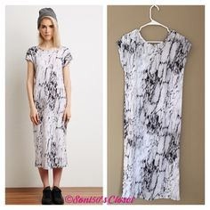 """Marble midi dress Super soft & comfy midi dress features a marble print and deep v back. Short sleeves. Polyester and spandex. Slit in middle of lower back. Measurements: bust 40"""" inches, length 45"""". Stock photos from lyst.com Forever 21 Dresses Midi"""