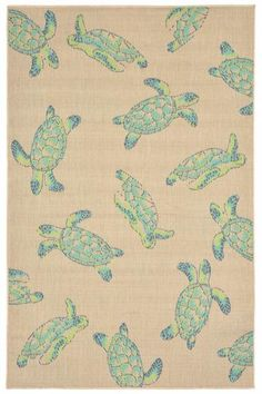 Sea Turtles Area Rug - Synthetic Rugs - Machine-woven Rugs - Patio Rugs - Outdoor Rugs - Contemporary Rugs - Ocean-themed Rugs…