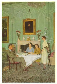 Conversation Piece At The Royal Lodge, Windsor, Postcard by National Portrait Gallery. Painting by Herbert James Gunn, 1950. King George VI, 1895-1952. Reigned from 1936. Queen Elizabeth, the Queen Mother. Queen Elizabeth II. Princess Margaret Rose.