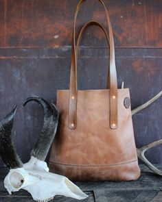 """Leather Tote Rustic Hand-stitched """"PRONGHORN"""" TOTE"""
