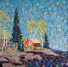 Michael Sweere Mosaic Company A coastal cottage. Mosaic Artwork, Mosaic Wall Art, Tile Art, Mosaic Glass, Mosaic Tiles, Glass Art, Stained Glass, Mosaics, Mosaic Mirrors